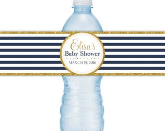 CUSTOM Baby Shower Water Bottle Labels, Navy Stripe and Gold, you print, DIY