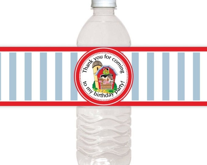 Farm Birthday Printable Water Bottle Labels, CUSTOM Printable Water Bottle Labels, you print, you cut, DIY water bottle labels