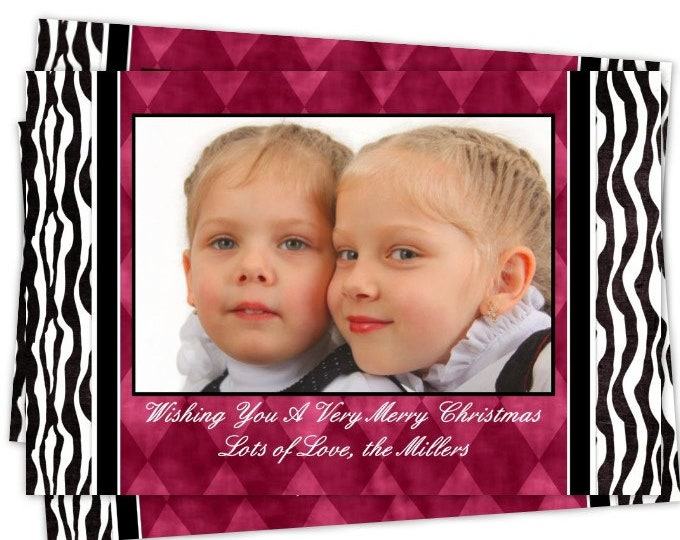 Custom Christmas Card, Zebra Holiday Photo Card, New Year's Photo Card, custom for YOU - 5x7 or 4x6 size, Zebra Print