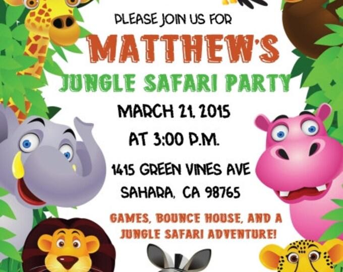 Jungle Safari Birthday Invite, Safari Invitation, Jungle Birthday Invite, Digital Design - CUSTOM for You - 4x6 or 5x7 size - YOU print