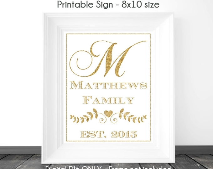 Gold Glitter Monogram Sign, Bridal Shower Printable Sign, Wedding Printable Sign, Family Monogram, Custom Monogram Sign, 8x10, YOU print