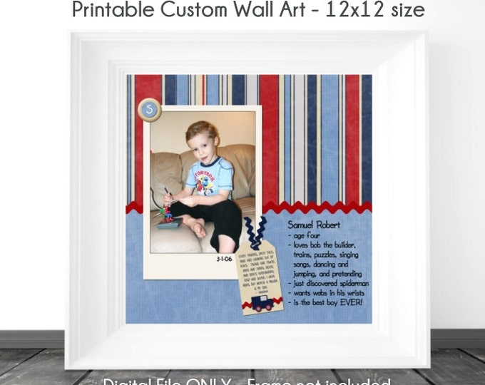 Birthday Printable Wall Art, Custom Digital Wall Art, Birthday Scrapbook Page, Birthday Wall Art, Custom Digital Design, YOU PRINT, 12x12