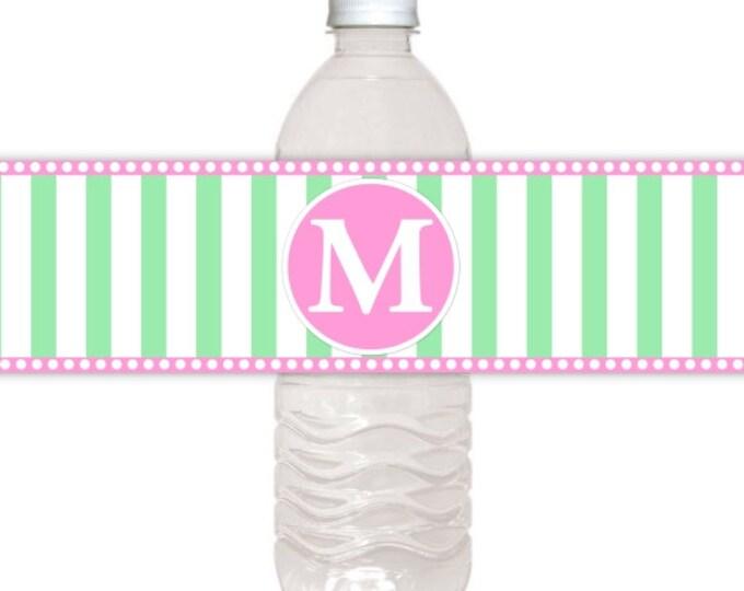 Monogram Water Bottle Labels, CUSTOM Printable Stripes and Monogram, Wedding Water Bottle Labels, you print, DIY water bottle labels