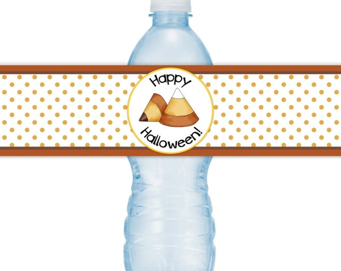 Halloween Party Water Bottle Labels, INSTANT DOWNLOAD, Happy Halloween Water Bottle, candy corn, you print, DIY water labels