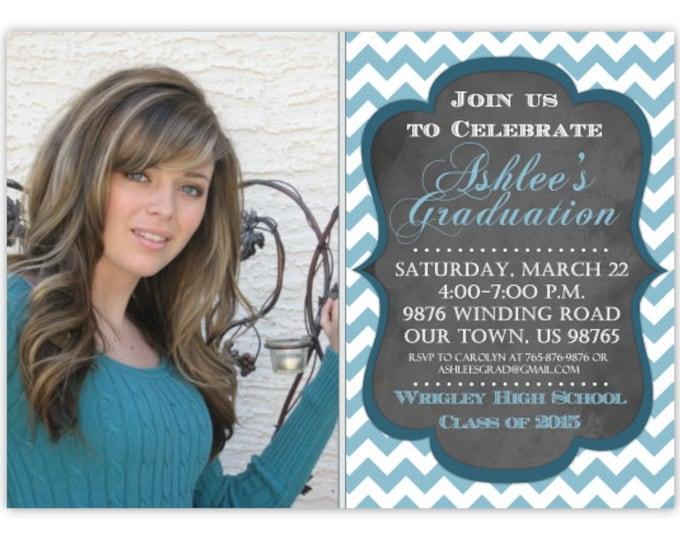 Printable Graduation Invitation, Photo Graduation Invite, Chalkboard Grad, Chevron Graduation Invite, Custom 4x6 or 5x7 size - YOU print