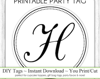 Instant Download - LETTER H, Monogram Party Tag, Black and White Monogram, DIY Cupcake Topper, You Print, You Cut