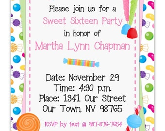 Candy Birthday Invitation, Sweet 16 Birthday Invitation, Candyland Party, Digital Design - CUSTOM for You - 4x6 or 5x7 size - YOU print