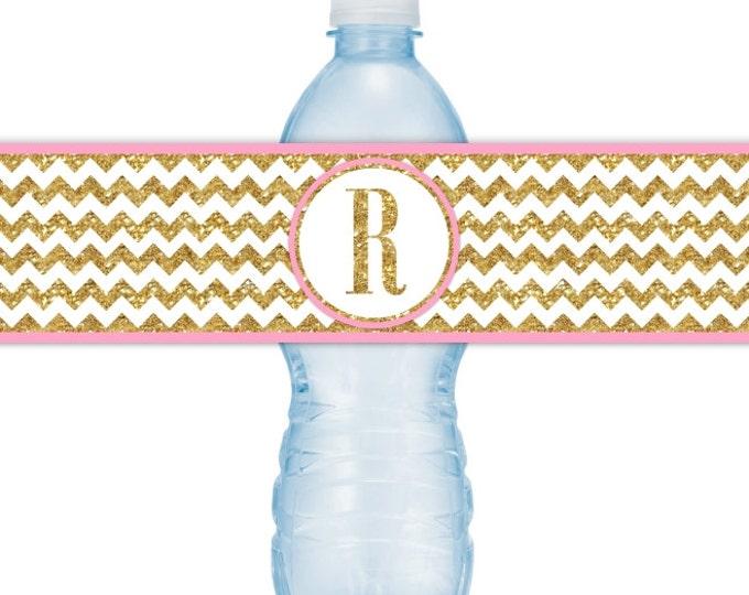 Printable Gold Chevron and Pink Printable Water Bottle Labels, CUSTOM Gold Monogram, you print, you cut, DIY