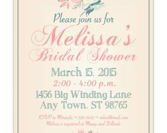 Printable Bridal Shower Invitation, Tan, Pink Wedding Shower Invite, Printable Bridal Shower Invite, CUSTOM Design, 4x6, 5x7, YOU print