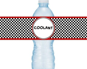 race car printable water bottle labels coolant racing birthday party instant download you print you cut diy water bottle labels