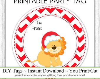 Christmas Printable Tags, Lion To/From Xmas Tags, DIY Party Tags, You Print, You Cut, INSTANT DOWNLOAD