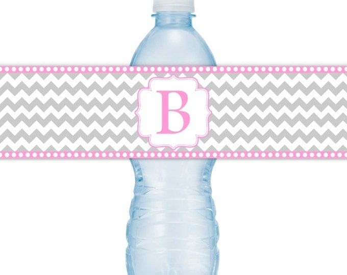 Wedding Water Bottle Labels, Monogram Water Bottle Labels - CUSTOM Printable Chevron Water Bottle Labels, YOU print, DIY water bottle labels