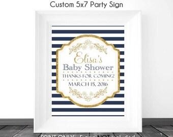 CUSTOM Navy Stripe and Gold Baby Shower Sign, Printable Sign, DIY Sign, Baby Shower or Wedding Shower
