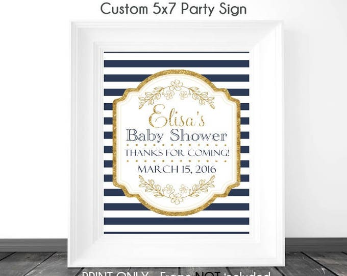 CUSTOM Navy Stripe and Gold Baby Shower Sign, Printable Sign, DIY Sign, Baby Shower or Wedding Shower