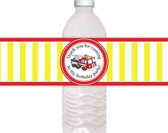 Fire Truck Water Bottle Labels, CUSTOM Printable Birthday Water Bottle Labels, you print, you cut, DIY water bottle labels