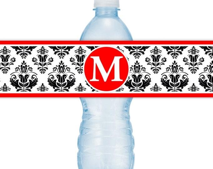 Damask Water Bottle Labels, CUSTOM Monogram Water Bottle Labels, Printable Water Bottle Labels, YOU print, you cut, DIY water bottle labels