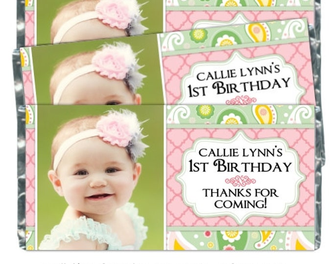 Printable Candy Wrappers, Paisley Photo Custom Candy wrappers, First Birthday Wrappers, fit chocolate bars, CUSTOM design for you, YOU PRINT