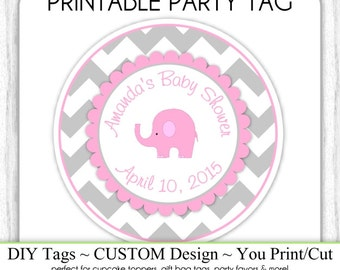 CUSTOM Printable Baby Shower Favor Tag, Elephant Baby Shower Printable, Chevron and Pink Custom Tag, DIY Cupcake Topper, You Print, You Cut