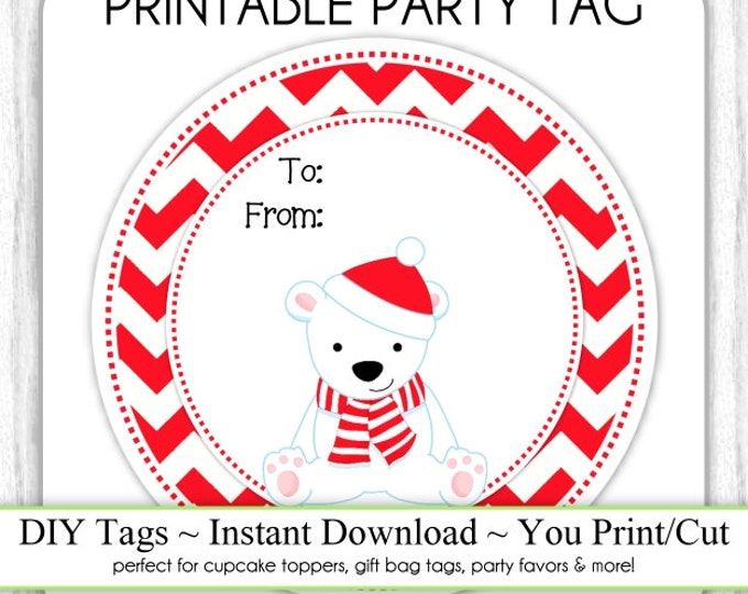 Christmas Printable Tags, Polar Bear To/From Xmas Tags, DIY Party Tags, You Print, You Cut, INSTANT DOWNLOAD