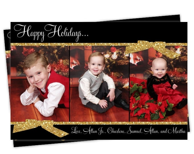 Custom Christmas Card, Holiday Photo Card, New Year's Photo Card, custom for YOU - 5x7 or 4x6 size, Black and Glitter Gold