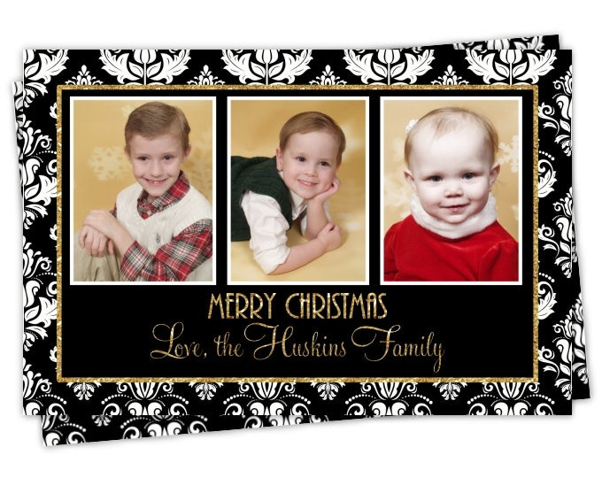 Custom Christmas Card, Holiday Photo Card, New Year's Photo Card, custom for YOU - 5x7 or 4x6 size, Black Damask with Glitter Gold