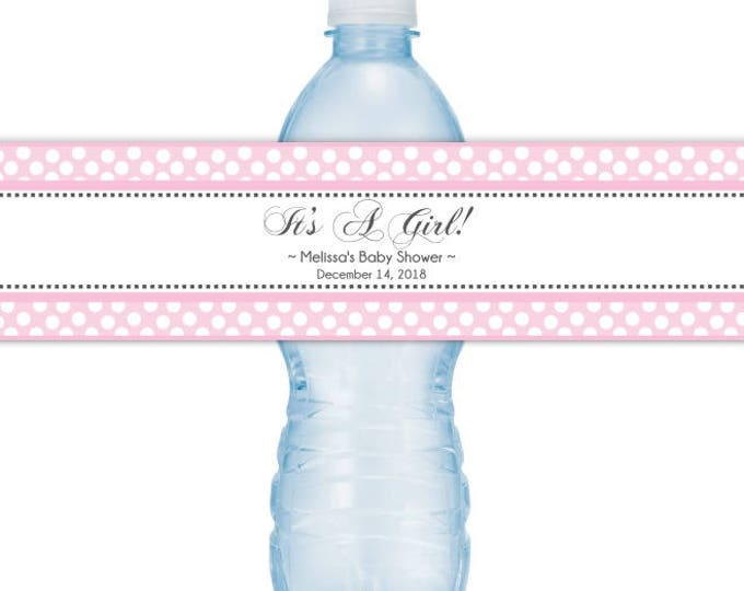 Baby Shower Water Bottle Labels, Pink Polka dots, CUSTOM Baby Shower Water Bottle Labels, It's A Girl, you print, DIY water bottle labels