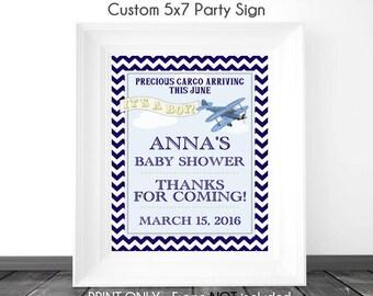 CUSTOM Aviation Baby Shower Sign, 5x7 Printable Sign, DIY Sign, Baby Shower or Wedding Shower