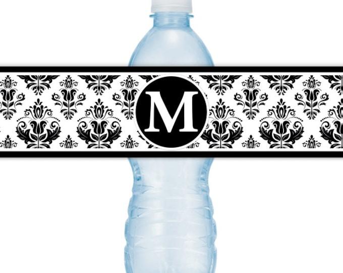 Damask Water Bottle Labels, CUSTOM Monogram Water Bottle Labels - Printable Water Bottle Labels, YOU print, you cut, DIY water bottle labels