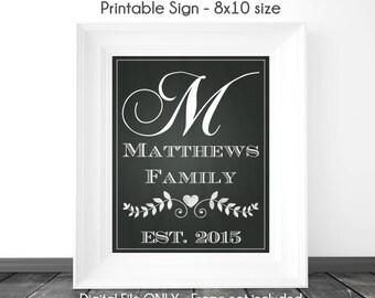 Monogram Chalkboard Sign, Bridal Shower Printable Sign, Wedding Shower Chalkboard Printable Sign, Custom Monogram Sign, 8x10, YOU print