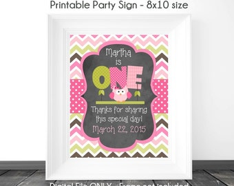 Owl Birthday Sign, Chalkboard Birthday Sign, Owl 1st Birthday Chalkboard Printable Sign, Custom 1st Birthday Sign, 8x10, YOU print