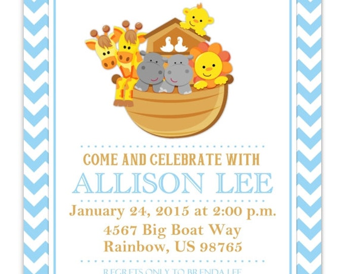 Baby Shower Invitation, Noah Baby Shower Invite, Noah's Ark Baby Shower, DIY Invitations, Customized for you - 4x6 or 5x7 size - YOU print