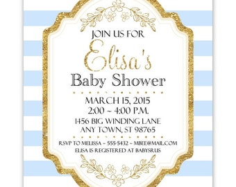 Baby Shower Invitation, Blue Stripes and Gold Baby Shower Invite, DIY Invitations, Customized for you - 4x6 or 5x7 size - YOU print