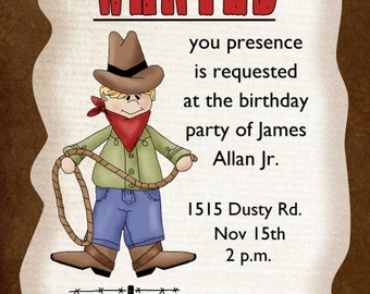 Cowboy Birthday Invite, Cowboy Invitation, Western Birthday Invite, Digital Design - CUSTOM for You - 4x6 or 5x7 size - YOU print