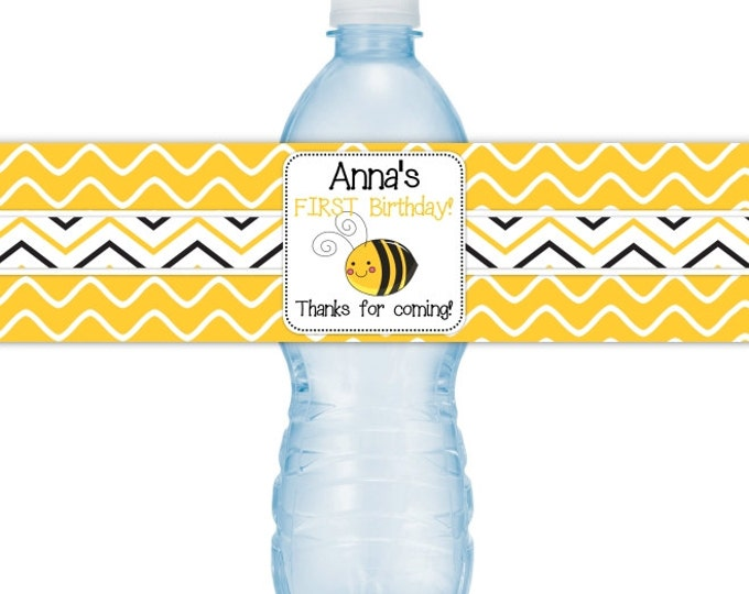 Printable Honey Bee Birthday CUSTOM Water bottle Labels, Bumblebee Water bottle Labels, you print, you cut, DIY water bottle labels
