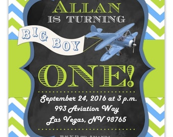 Airplane Birthday Invitation, Aviation 1st Birthday Invitation, First Birthday Airplane, Digital Design, CUSTOM 4x6 or 5x7 size, You Print