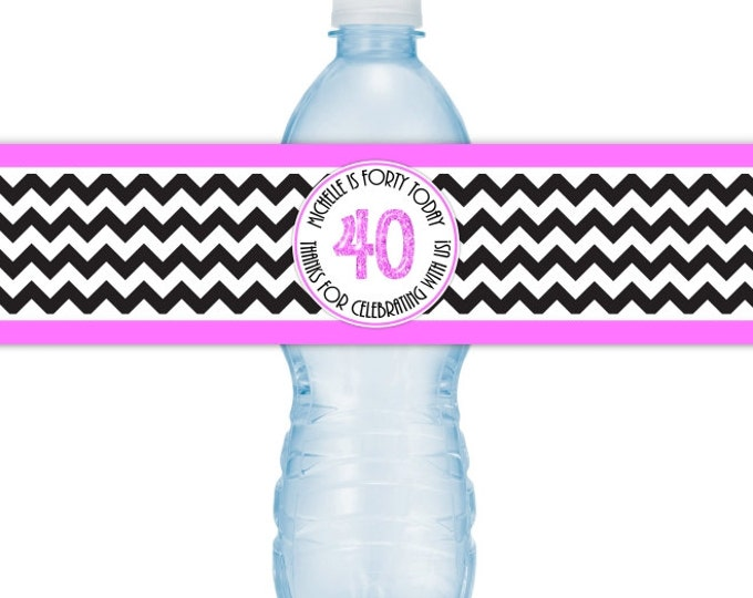 40th Birthday Printable Water Bottle Labels, CUSTOM 40th Birthday, Chevron Design, you print, you cut, DIY water bottle labels