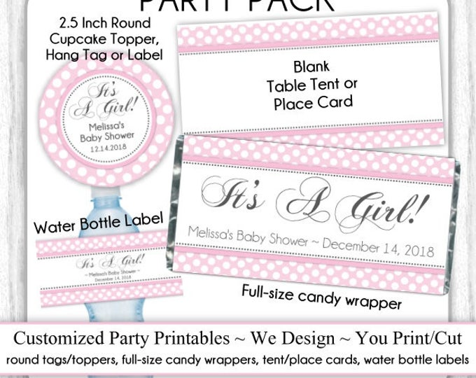 CUSTOM Printable PARTY PACK, Custom Printable Tags or Toppers, Candy Wrappers, Water Bottle Labels, Tent Cards ~ Choose Your Theme