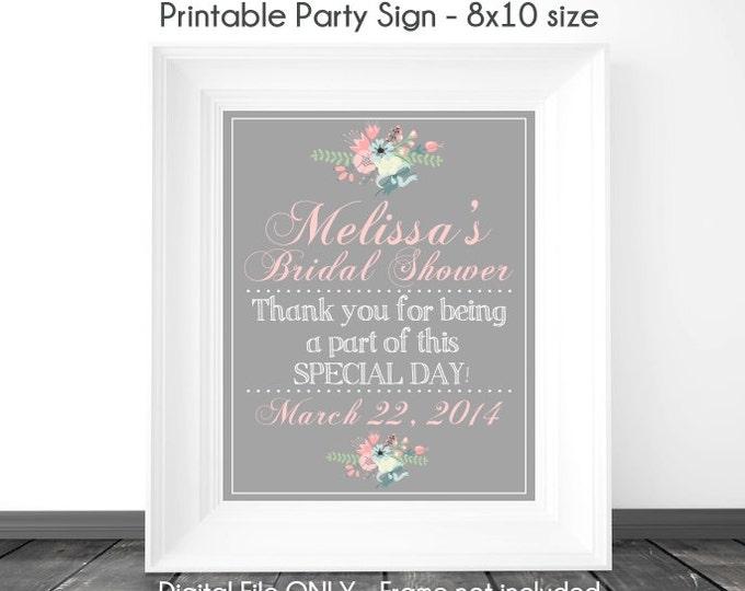 Bridal Shower Printable Sign, Wedding Shower Sign, Silver / Chalkboard Printable Sign, Custom Bridal Shower Sign, 8x10, YOU print