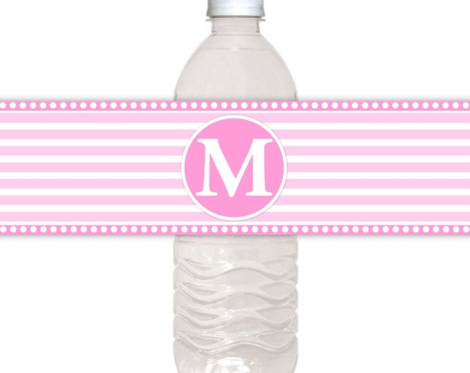 Monogram Printable Water Bottle Labels, CUSTOM Printable Stripes and Monogram, you print, you cut, DIY water bottle labels