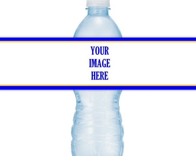 Printable Water Bottle Labels, CUSTOMIZED for you with your logo or photo, you print, you cut, DIY water bottle labels