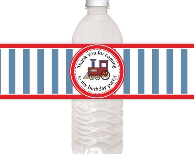Train Birthday Printable Water Bottle Labels, CUSTOM Printable Water Bottle Labels, you print, you cut, DIY water bottle labels