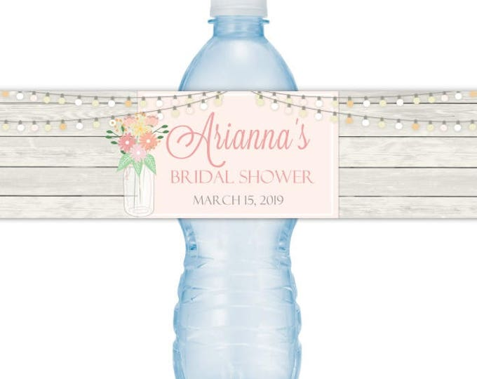 Wedding Water Bottle Labels - CUSTOM Mason Jar Flowers Bridal Shower Water Bottle Labels, YOU print, you cut, DIY water bottle labels