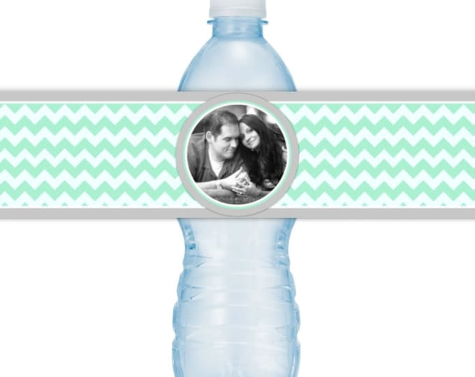 Wedding Photo Water Bottle Labels - CUSTOM Printable Mint Chevron Water Bottle Labels, YOU print, you cut, DIY water bottle labels