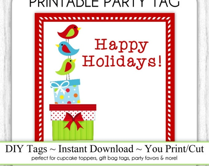 Christmas Printable Tags, Holiday Printables, Xmas Presents, Christmas Birds, DIY Party Tags, You Print, You Cut, INSTANT DOWNLOAD