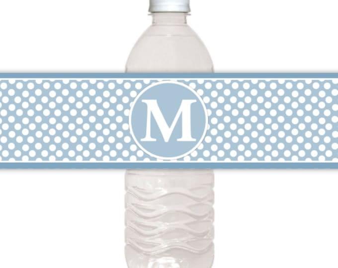 Monogram Water Bottle Labels, CUSTOM Printable Dots and Monogram, you print, you cut, DIY water bottle labels