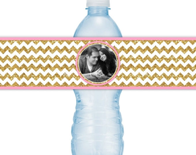 Wedding Photo Printable Water Bottle Labels - CUSTOM Printable Gold Chevron Water Bottle Labels, YOU print, you cut, DIY water bottle labels