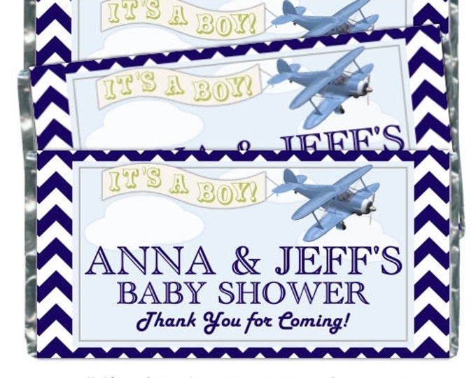 Printable Candy Wrappers, Baby Shower Candy Wrappers - Airplane Baby Shower Candy Wrappers - baby shower, chevron design