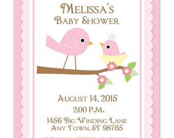 Sweet Birds Invitation, Birds Baby Shower Invitation, Pink Mommy Bird Invite, Digital Design - CUSTOM for You - 4x6 or 5x7 size - YOU print