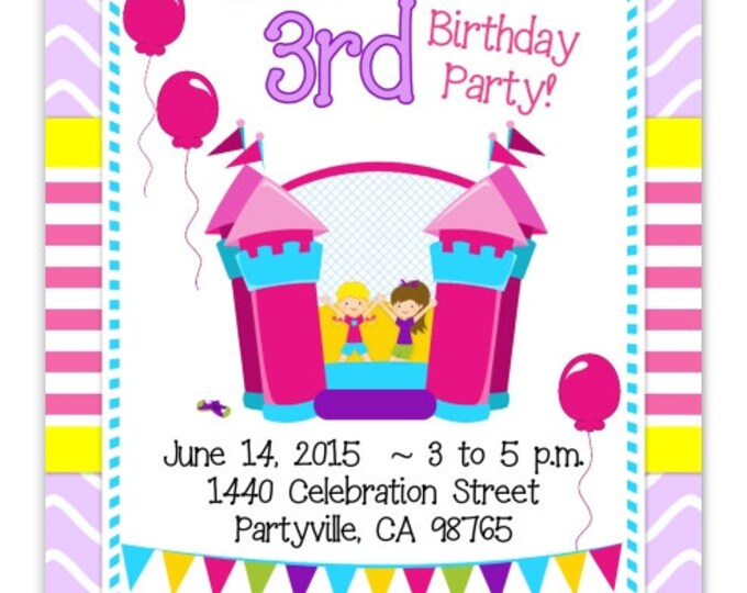 Girl Birthday Invite, Bounce House Birthday Invitation, Bouncy House Birthday Invite, Digital Design - CUSTOM for You - 4x6 or 5x7 size