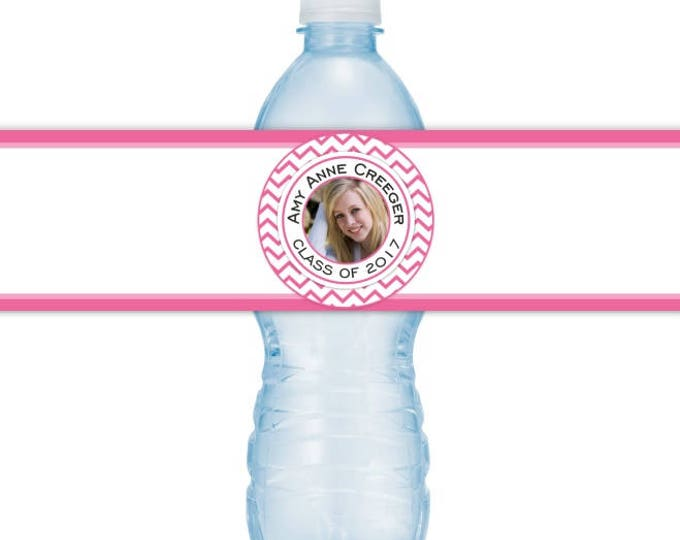 Graduation Photo Water Bottle Labels - CUSTOM Printable Water Bottle Labels, YOU print, you cut, DIY water bottle labels